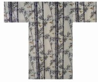 (WIDE SIZE) TAKESUZUME - Bamboo and Sparrow - (WOMEN: Cotton KIMONO)