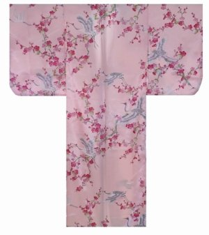 Photo4: UMETSURU - Japanese Plum and Crane - (KIDS: Polyester KIMONO)