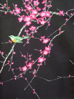 Photo4: (WIDE SIZE) UME UGUISU - Plum and Bush Warbler - (WOMEN: Cotton HAPPI)