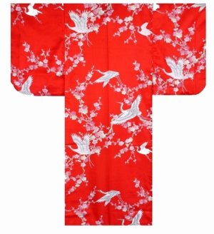 Photo2: UMETSURU - Japanese Plum and Crane - (KIDS: Polyester KIMONO)