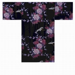 Photo5: KIKUBOTAN - Flying Crane and Peony - (WOMEN: Cotton HAPPI)