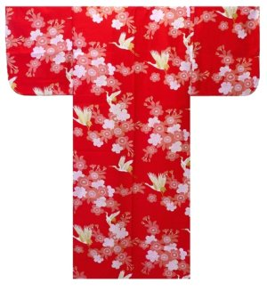 Photo3: SAKURATSURU - Cherry Blossoms and Crane - (WOMEN: Cotton YUKATA)