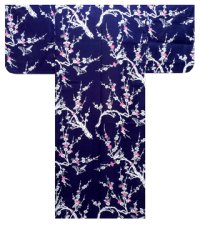 UME - Pink Plum and Bush Warbler - (WOMEN: Cotton YUKATA)