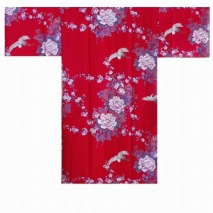 Photo2: KIKUBOTAN - Flying Crane and Peony - (WOMEN: Cotton HAPPI)