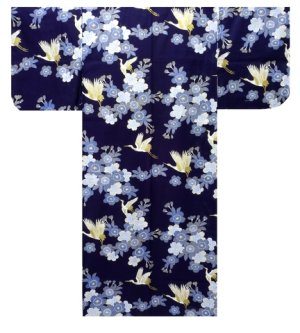 Photo2: SAKURATSURU - Cherry Blossoms and Crane - (WOMEN: Cotton YUKATA)