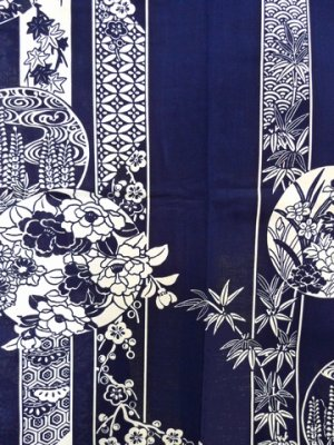 Photo2: MARUBANA - Flowers in Circles - (WOMEN: Cotton YUKATA)