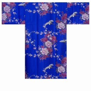 Photo1: KIKUBOTAN - Flying Crane and Peony - (WOMEN: Cotton HAPPI)
