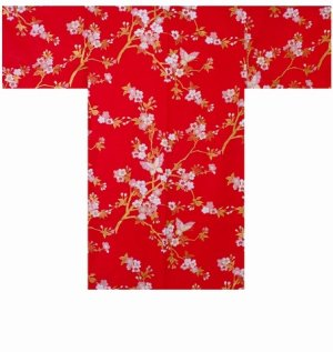 Photo1: CHOUCHOU - Cherry Blossoms and Butterfly - (WOMEN: Cotton HAPPI)