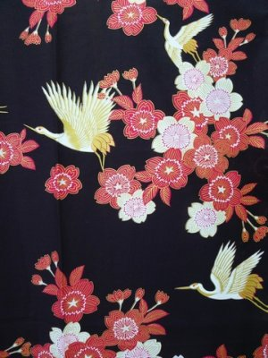 Photo4: SAKURATSURU - Cherry Blossoms and Crane - (WOMEN: Cotton YUKATA)