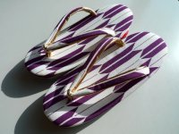 Japanese ZORI - Kimono Sandals purple arrows - Size 7 1/16in