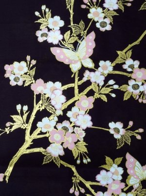 Photo3: CHOUCHOU - Cherry Blossoms and Butterfly - (WOMEN: Cotton HAPPI)