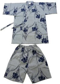 SHIMA AYAME - Iris and Stripes - (WOMEN: Cotton JINBEI)