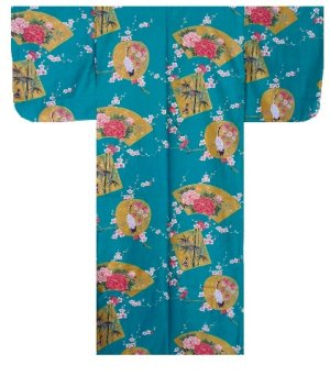 Photo1: KINTSURU - Beautiful Crane - (WOMEN: Cotton KIMONO)