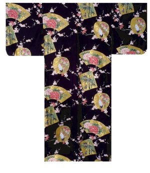 Photo2: KINTSURU - Beautiful Crane - (WOMEN: Cotton KIMONO)