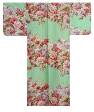 Photo1: FUJIUME - Thousands of Flowers - (WOMEN: Cotton KIMONO)