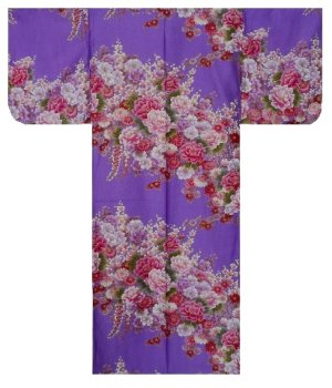 Photo2: FUJIUME - Thousands of Flowers - (WOMEN: Cotton KIMONO)